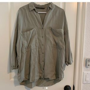 Olive green Utility oversized button up